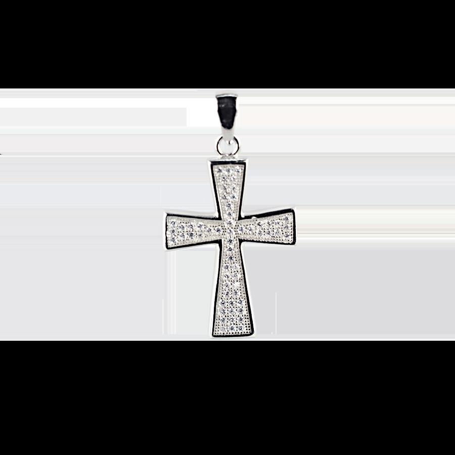 Купити Підвіска хрестик оздоблений маленькими фіанітами 6П295