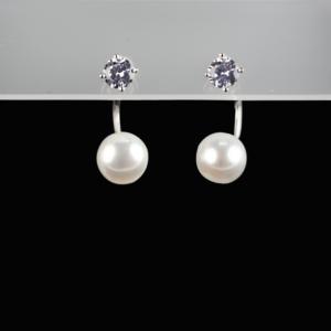 Купити Сережки з перлиною культивованою і фіанітом-пірсінг 6с510
