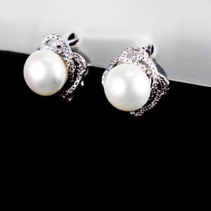 Купити Сережки з перлиною культивованою і фіанітом 6с780