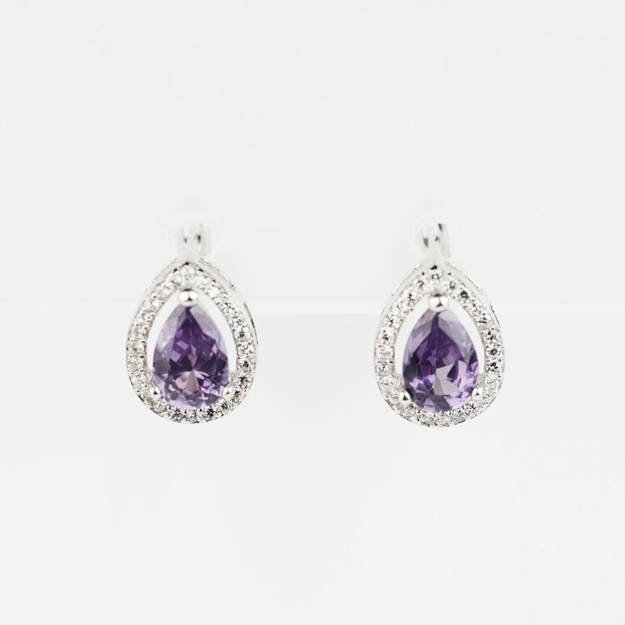 Купити, сережки на англійському замку,александрит краплею в обрамленні фіанітів