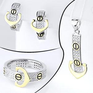 Комплект каблучка, підвіска та срібні сережки в стилі Cartier
