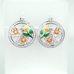 Срібні сережки з різнокольоровою емаллю на англ. застібці квіточки