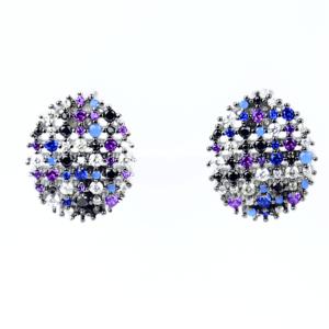 Срібні сережки прикрашені різнокольоровими фіантами