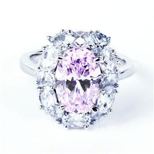 Серебряная кольцо, розовый фианитми фианитами